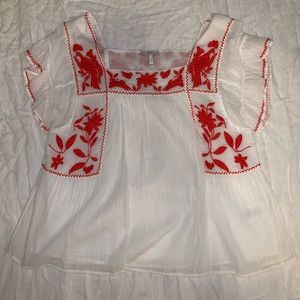 Joie Red Floral Blouse